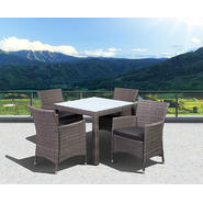Atlantic Barbados Deluxe Square 5 Piece Grey Synthetic Wicker Patio Dining Set With Grey Cushions at Kmart.com