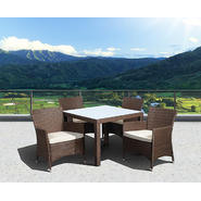 Atlantic Barbados Deluxe Square 5 Piece Brown Synthetic Wicker Patio Dining Set With Off-White Cushions at Kmart.com