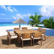 Amazonia Tampa 9 Piece Eucalyptus Wood Square Patio Dining Set with White & Beige Striped Cushions at Kmart.com