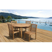Amazonia Ibiza 5 Piece Eucalyptus Wood Armless Round Patio Dining Set at Kmart.com