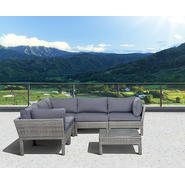 Atlantic St.Croix 6 pc Grey Synthetic Wicker Patio Seating Set with Grey Cushions at Kmart.com