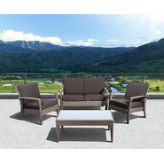 Atlantic Santorini Deluxe 4 Piece Grey Synthetic Wicker Patio Seating Set With Grey Cushions at Kmart.com
