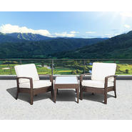 Atlantic Santorini Deluxe 3 Piece Brown Synthetic Wicker Patio Seating Set With Off-White Cushions at Kmart.com