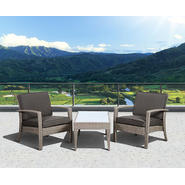 Atlantic Santorini Deluxe 3 Piece Grey Synthetic Wicker Patio Seating Set With Grey Cushions at Kmart.com
