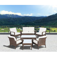 Atlantic Santorini Deluxe 7 Piece Brown Synthetic Wicker Patio Seating Set With Off-White Cushions at Kmart.com