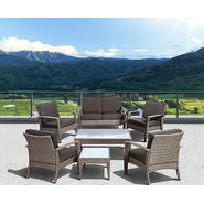 Atlantic Santorini Deluxe 7 Piece Grey Synthetic Wicker Patio Seating Set With Grey Cushions at Kmart.com