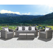 Atlantic Westin 5 Piece Synthetic Wicker Conversation Set Grey with Grey Cushions at Kmart.com