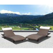 Atlantic Santorini 2 Piece Deluxe Brown Synthetic Wicker Patio Lounger Set With Off-White Head Cushion at Kmart.com