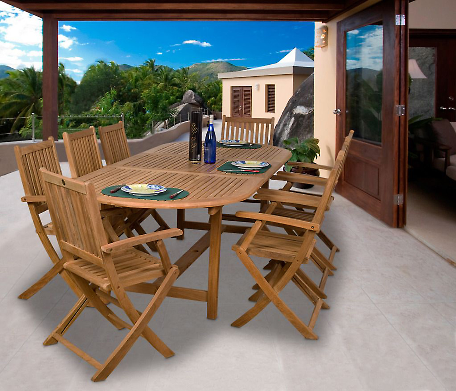 Image of Amazonia Auckland 9 Piece Oval Teak Dining Set, Brown-SC_DIANOVAL_8YOGYA_ARM