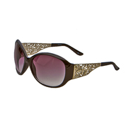 Studio S Women's Oversized Fashion Sunglasses Black with Silver Cutout Arms at Kmart.com