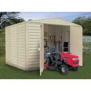 Duramax 10' x 8' vinyl fire retardant shed with a galvanized steel interior supporting structure at Kmart.com