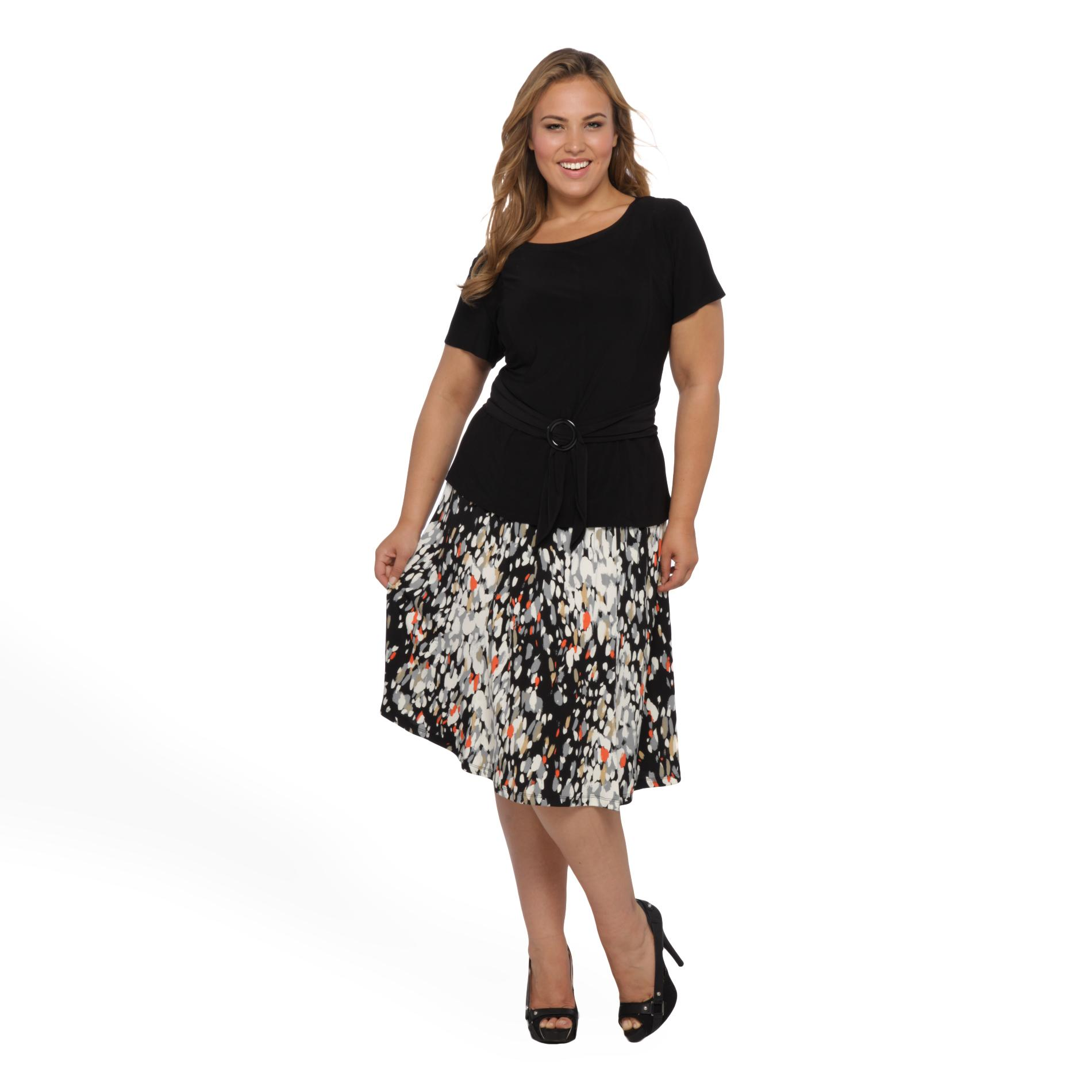 Perception Women's Plus Dress & Belt at Sears.com