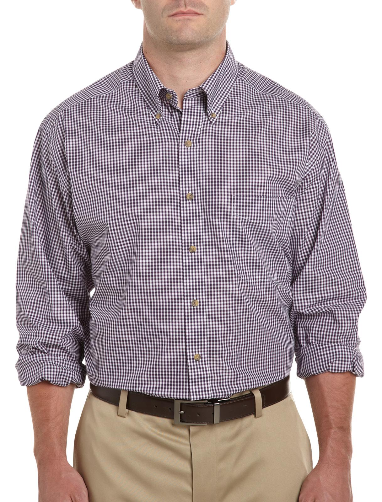 Harbor Bay Long-Sleeve Easy-Care Mini Gingham Sport Shirt