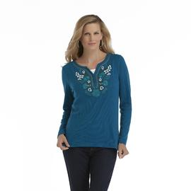 Laura Scott Women's Thermal Henley Top - Embroidered Floral at Sears.com