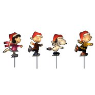 Peanuts Christmas Outdoor Decorations 8 in. 2D 4 Pack Pathway Markers, 25 Lights - Peanuts Gang Skating at Sears.com