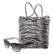 Bongo Junior's Tiger Print Sequined Tote Bag & Black Zebra Retro Glasses Bundle at Kmart.com
