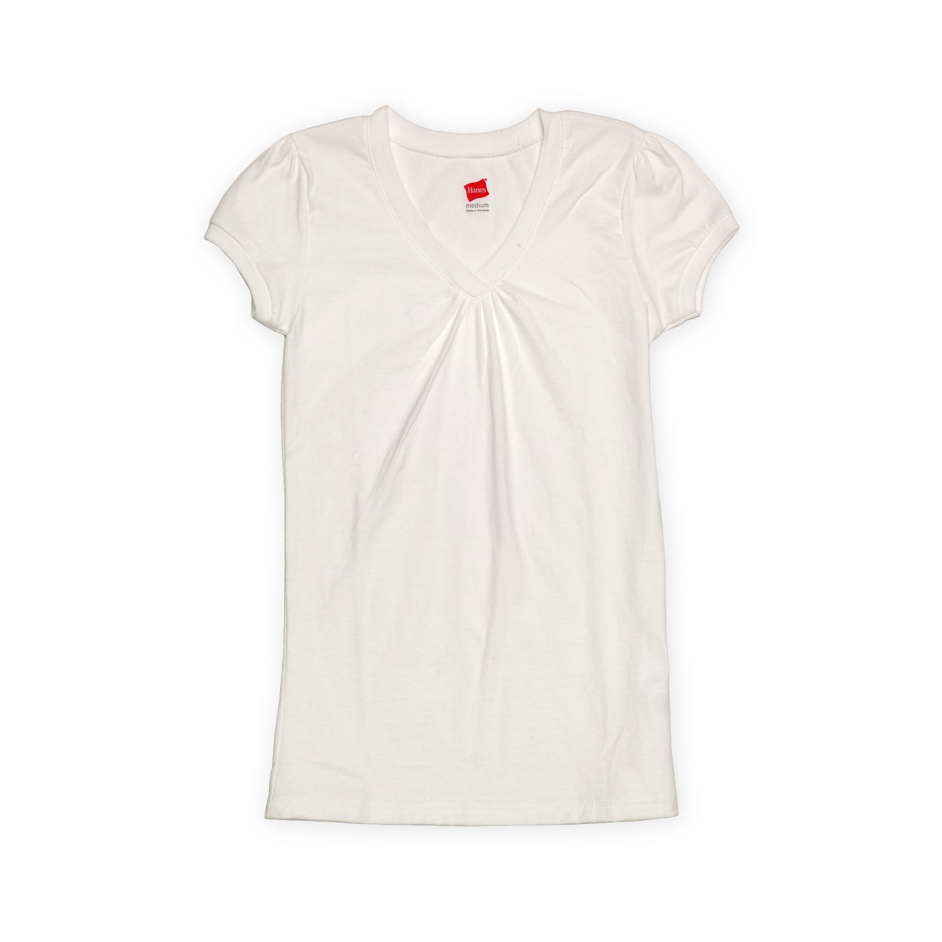 Hanes Girl's Shirred V-Neck T-Shirt