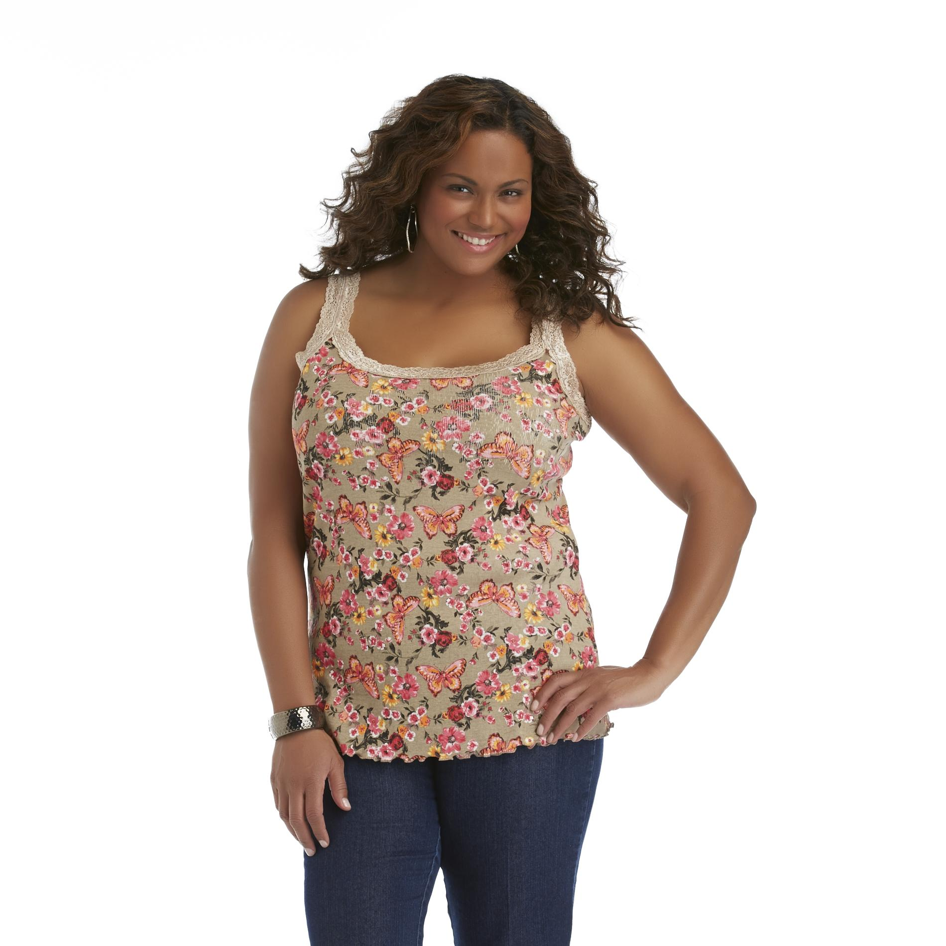 Basic Editions Women's Plus Lace Trim Tank - Butterflies & Floral at Kmart.com