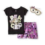 Joe Boxer Girl's Glitter Pajamas & Sleep Mask - Peace Monkey at Kmart.com
