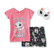 Joe Boxer Girl's Glitter Pajamas & Sleep Mask - Kitty Cat at Kmart.com