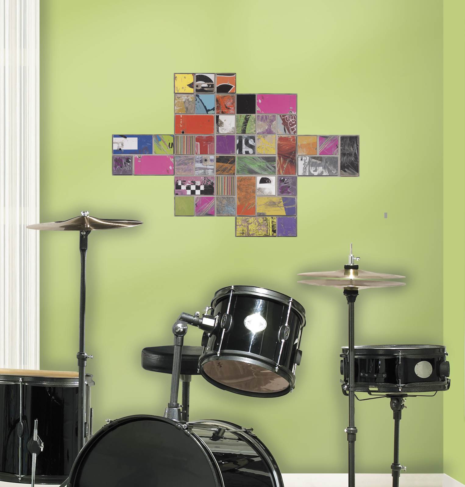 RoomMates Art of Board Square Peel & Stick Giant Wall Decals