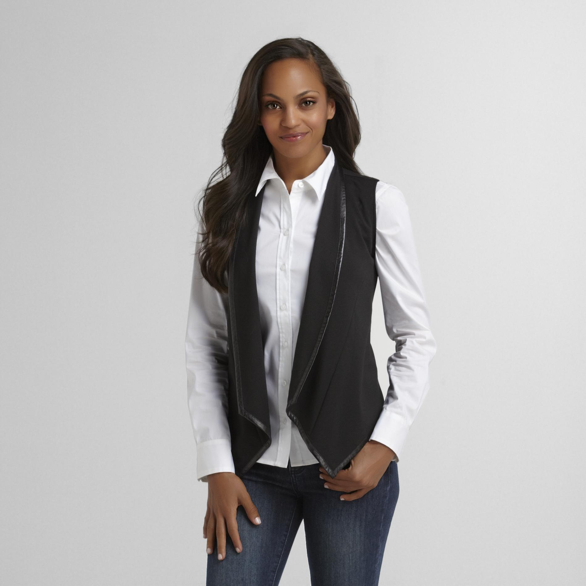 Women's Ponte Vest - Faux Leather Trim