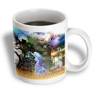 3dRose - Dream Essence Designs Halloween - A spooky collage of an old haunted house, ghost, graveyard, black cat and more - 15 oz mug at Kmart.com