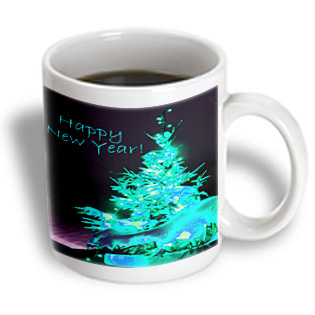 3dRose - Yves Creations Pretty Christmas Tree - Pretty Christmas Tree Happy New Year in Ice Blue With Light Blue ...