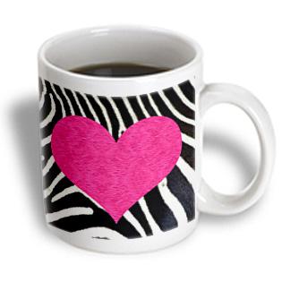 3dRose - Janna Salak Designs Prints and Patterns - Punk Rockabilly Zebra Animal Stripe Pink Heart Print - 15 oz mug PartNumber: 011V006384203000P KsnValue: 6384203 MfgPartNumber: mug_20393_2