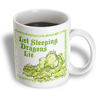 Image of 3dRose - Jack of Arts Dragon - Dragon with Let Sleeping Dragons Lie - 11 oz mug, White