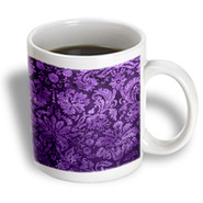 3dRose - Rewards4life Gifts - Decorative Vintage Floral Wallpaper Purple - 15 oz mug at Kmart.com