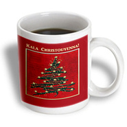 3dRose - Beverly Turner Christmas Other Languages - Kala Christouyenna, Merry Christmas in Greek, Christmas Tree on Red  - 15 oz mug at Kmart.com