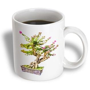 3dRose - Boehm Digital Paint Garden - Flowering Chinese Container Garden - 11 oz mug, White