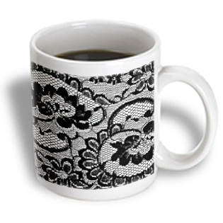 3dRose - 311 Lace Deluxe - Sassy black and white lace print Perfect for bachelorette or lingerie parties  - 11 oz mug PartNumber: 011V006390318000P KsnValue: 6390318 MfgPartNumber: mug_26419_1