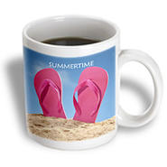 3dRose - Florene Décor II - Pink Summer Flip Flops On Beach - 15 oz mug at Kmart.com