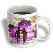 3dRose - Spiritual Awakenings Surfing Art - Hawaiian Surf print and surfers in silhouette walking to the surf - 15 oz mug at Kmart.com