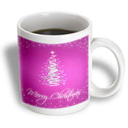 3dRose - Rewards4life Gifts - Merry Christmas Cards With Tree Pink - 11 oz mug at Kmart.com