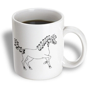 3dRose - Janna Salak Designs Farm Animals - Horse Lover Gifts - Tattooed Horse Outline - White and Black - 11 oz mug PartNumber: 011V006390464000P KsnValue: 6390464 MfgPartNumber: mug_35449_1
