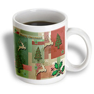 3dRose - Beverly Turner Christmas Design - Merry Christmas, Reindeer and Trees  - 11 oz mug at Kmart.com