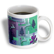 3dRose - Beverly Turner Christmas Design - Reindeer and Trees, Green and Purple - 11 oz mug at Kmart.com