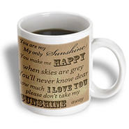 3dRose - PS Vintage - You Are My Sunshine in Brown- Word Art- Vintage Song - 11 oz mug at Sears.com