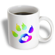 3dRose - Rewards4life Gifts - Cats Paw Print With Heart Rainbow - 11 oz mug at Kmart.com