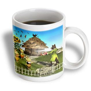 3dRose - Boehm Digital Paint Fairy Tales - The 3 Little Pigs and the Big Bad Wolf - 11 oz mug PartNumber: 011V006384403000P KsnValue: 011V006384403000 MfgPartNumber: mug_51570_1