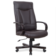 Leick  Deep Brown Faux Leather Executive Office Chair with Wood Arm Rests at Kmart.com