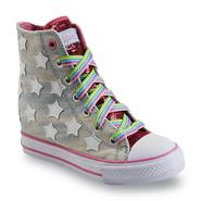 Skechers Girl's Starry Skies Pink/Denim/White High-Top Hidden Wedge Sneaker at Sears.com