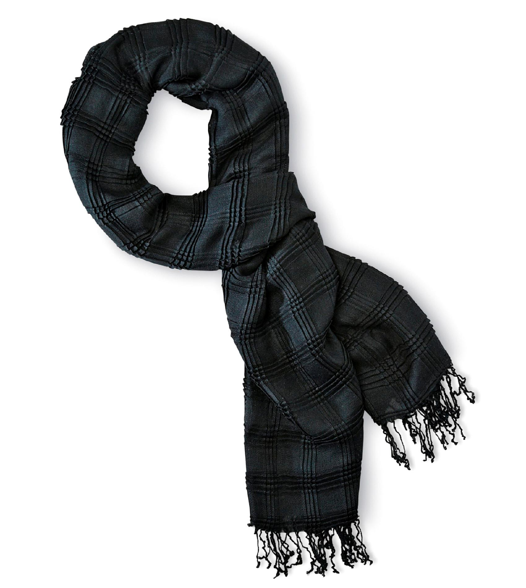 Joe Boxer Women's Pleated Scarf - Windowpane Plaid