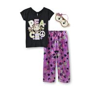 Joe Boxer Girl's Graphic Pajama Top, Bottoms & Sleep Mask - Peace at Kmart.com