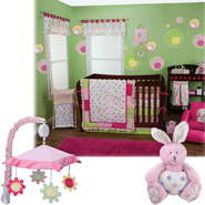 Splash Pink - 3 Piece Crib Bedding Set & Mobile Bundle at Sears.com
