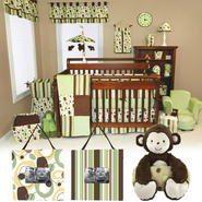 Giggles - 3pc Crib Bedding Set, Crib Bumpers & Monkey Plush Toy With Blanket Bundle at Kmart.com