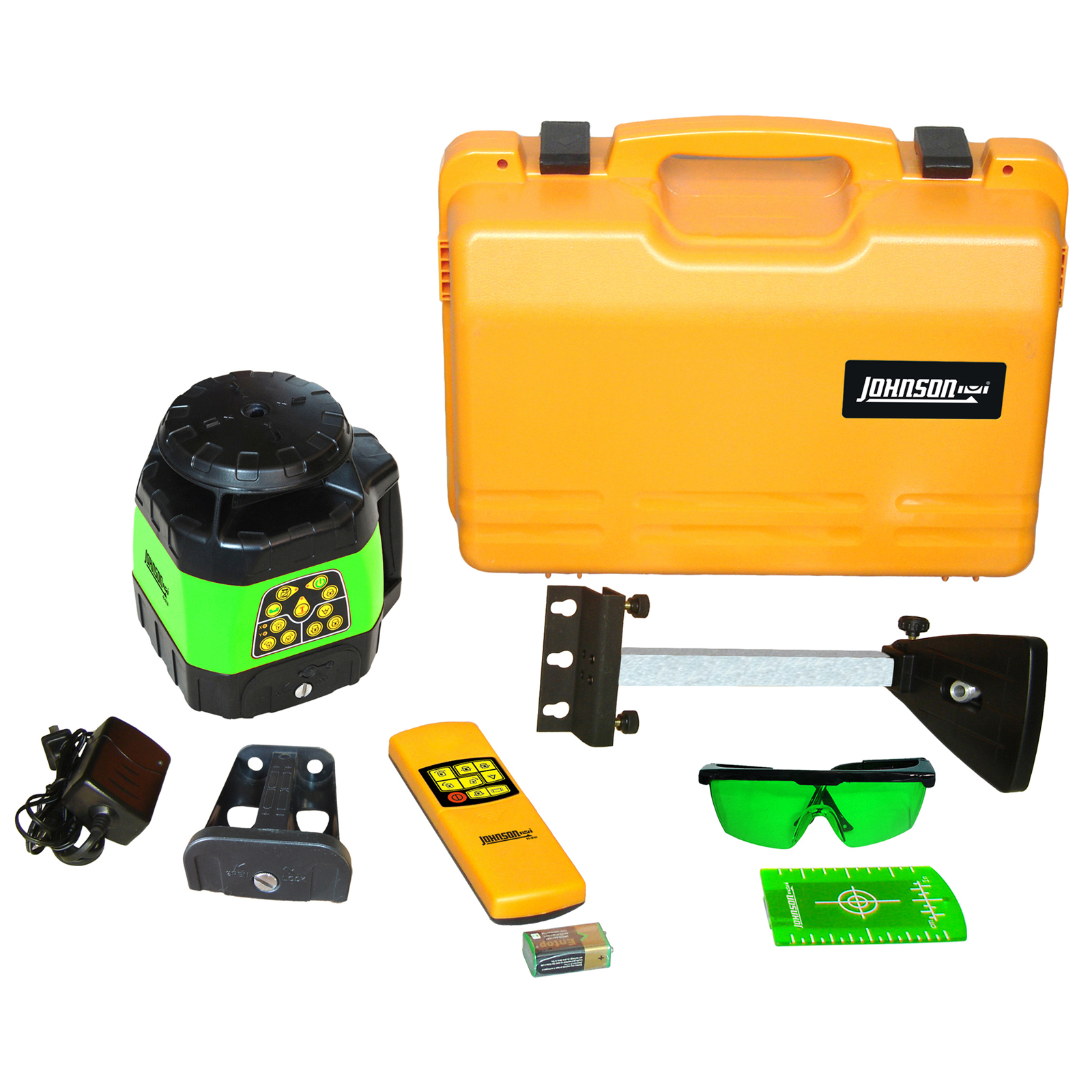 Johnson Level Electronic Self-Leveling Horizontal & Vertical Rotary Laser Kit with GreenBrite Technology